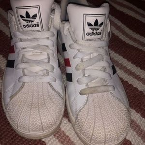 Adidas Ladies Sneakers, Red, White and Black